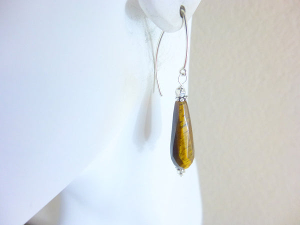 Tiger Eye Chakra Earrings, Sterling Silver, Sacral & Solar Plexus Chakras