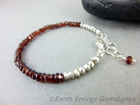 Heart Chakra Bracelet, Garnet, Sterling Silver - Earth Energy Gemstones