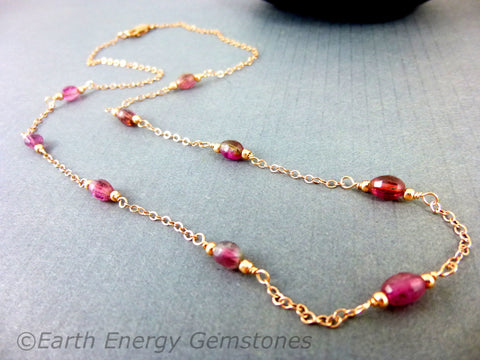 Pink Tourmaline Heart Chakra Necklace, 14K Rose Gold Fill