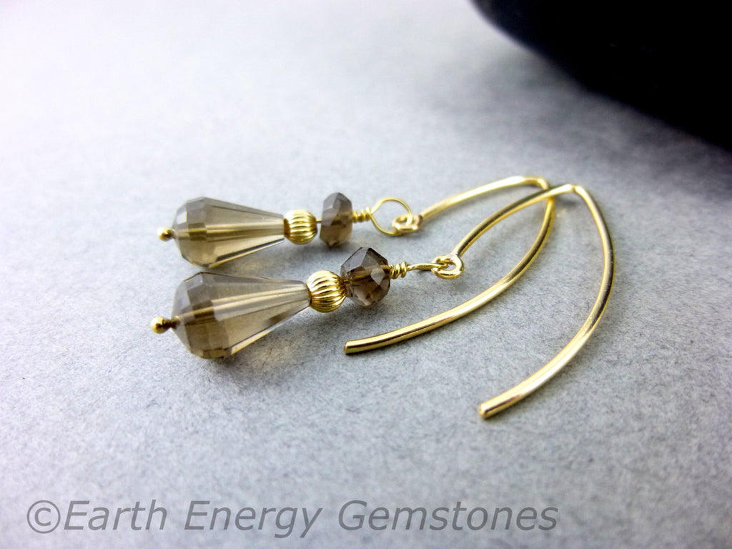 Smoky Quartz Chakra Earrings - Earth Energy Gemstones