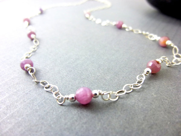 Pink Sapphire Wire Wrapped Chakra Necklace, Sterling Silver