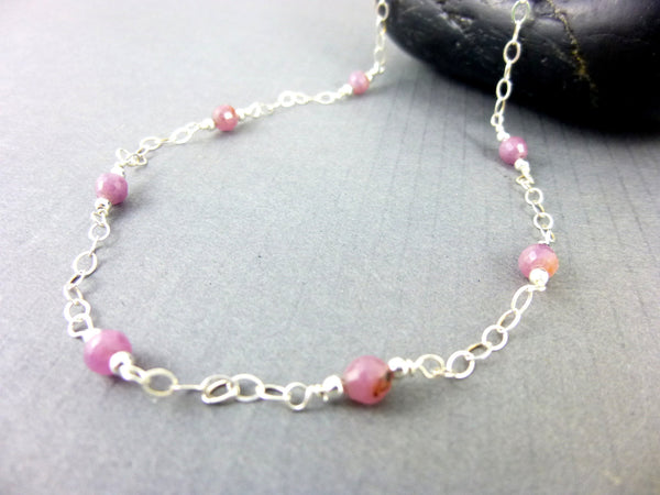 Pink Sapphire Necklace, Heart Chakra - Earth Energy Gemstones