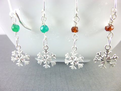 Holiday Earrings, Emerald or Garnet Snowflake Chakra Earrings, Sterling Silver