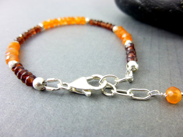 Root and Heart Chakra Bracelet, Sterling Silver - Earth Energy Gemstones