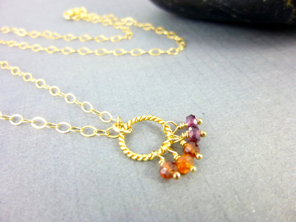 Multi-Color Sapphire Chakra Necklace, 14kt Gold Filled