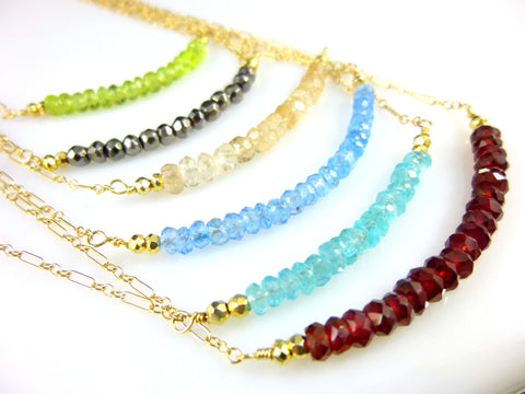 Bead Bar Chakra Necklace, Choose Gemstones, 14K Gold Fill - Earth Energy Gemstones