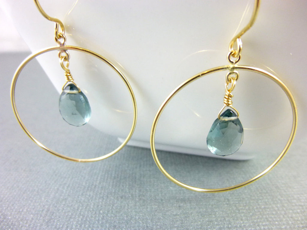 London Blue Quartz Chakra Earrings, Wire Wrapped Stones & 14kt Gold Filled Hoops