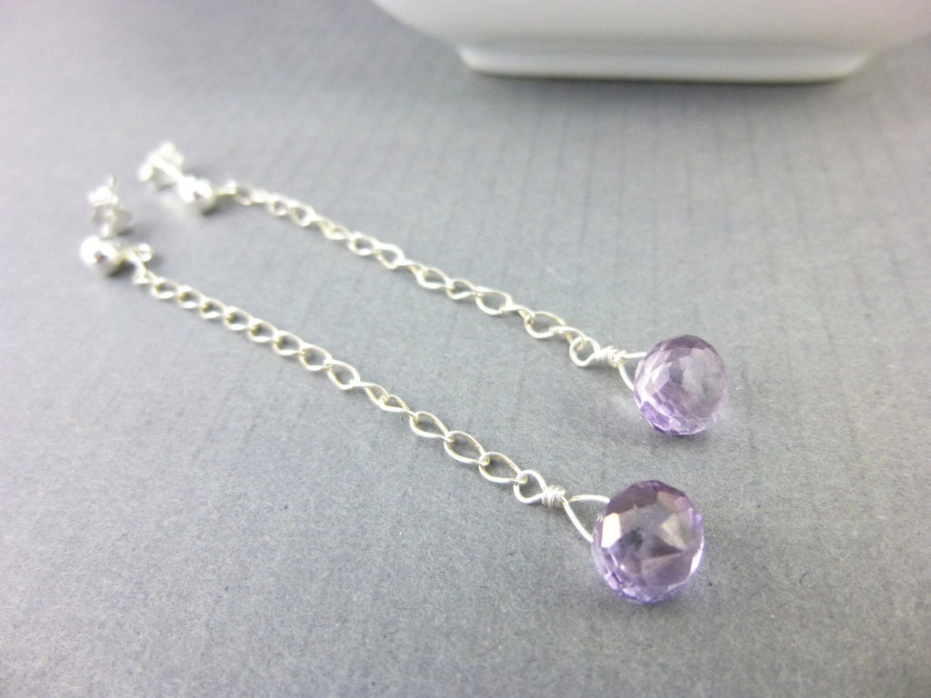 Lavender Mystic Crystal Quartz Earrings, All Chakras, Long Dangle Earrings, Sterling Silver