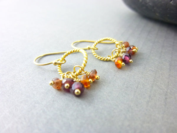 Sapphire Chakra Earrings, Multi-Color Sapphires, 14kt Gold Filled Tunduru Sapphire Earrings