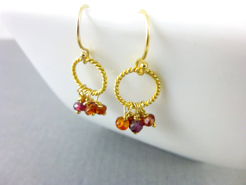 Multi-Color Sapphire Chakra Earrings,14kt Gold Filled