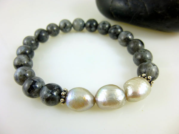 Pearls & Black Labradorite, Stretch Chakra Bracelet, Sterling Silver