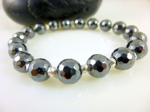 Hematite Stretch Bracelet, Chakra Bracelet - Earth Energy Gemstones