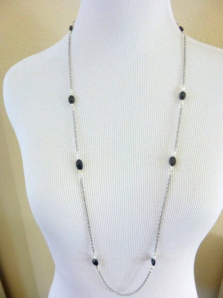 "Long Wire Wrapped Black Spinel Chakra Necklace, 36"" Sterling Silver Chain"