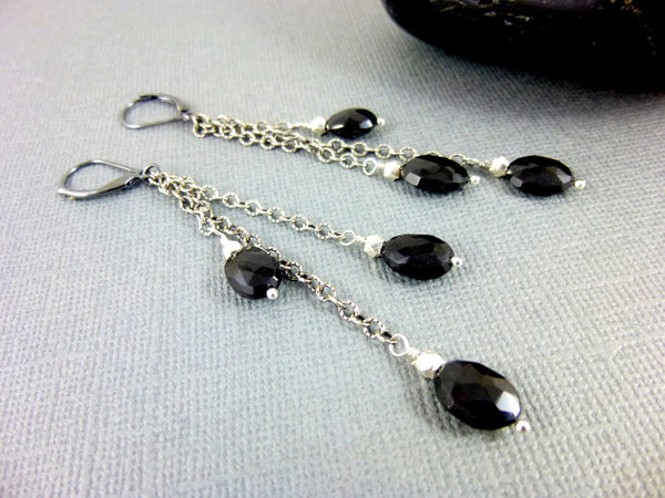 Black Spinel Chakra Earrings, Shoulder Dusters, Sterling Silver