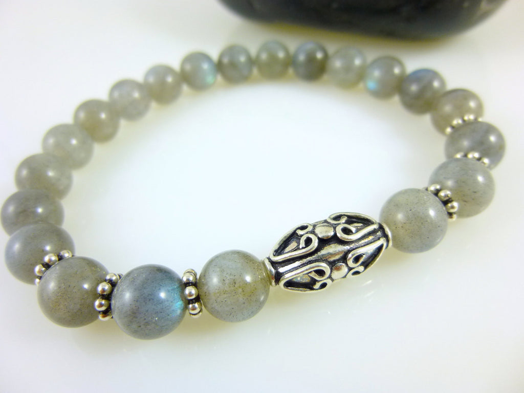 Labradorite Chakra Stretch Bracelet, Third Eye Chakra - Earth Energy Gemstones
