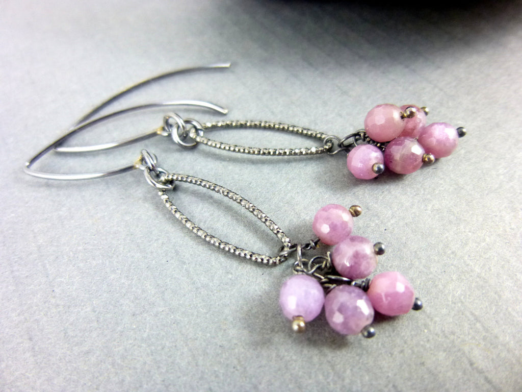 Pink Sapphire Earrings, Heart Chakra - Earth Energy Gemstones