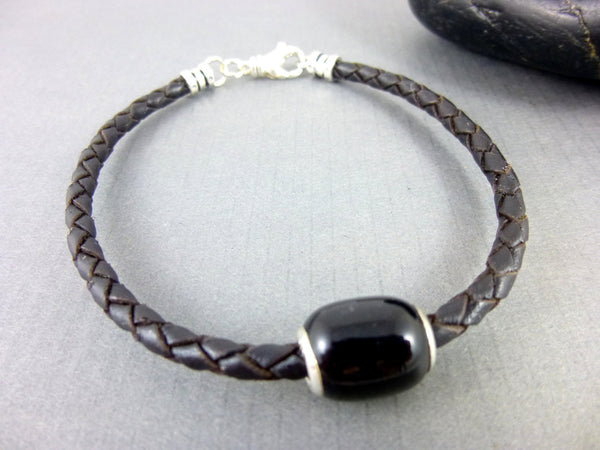 Men's Black Leather Bracelet, Agate Root Chakra, Sterling Silver - Earth Energy Gemstones