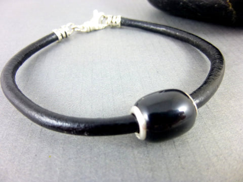Men's Black Leather Bracelet, Black Agate & Leather, Sterling Silver