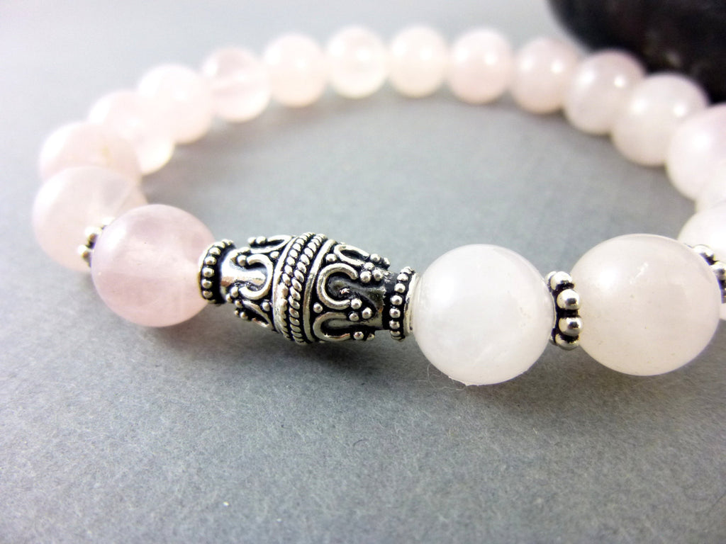 Rose Quartz Heart Chakra Bracelet, Sterling Silver
