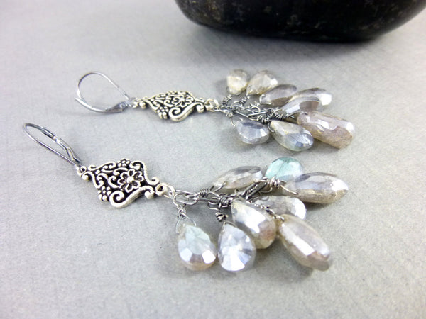 Mystic Labradorite Chakra Earrings, Sterling Silver Dangles, Third Eye Chakra