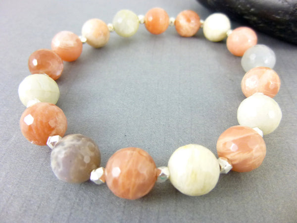 Peach Moonstone Chakra Bracelet, Hill Tribe Fine Silver - Earth Energy Gemstones