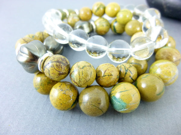 Earthy Boho Chakra Bracelet Set, Fine Silver - Earth Energy Gemstones
