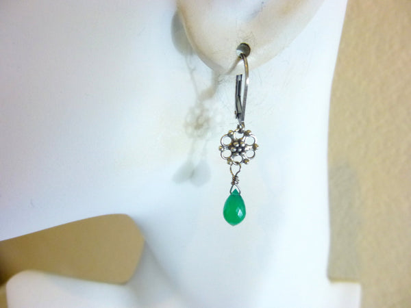 Green Onyx Earrings, Heart Chakra - Earth Energy Gemstones