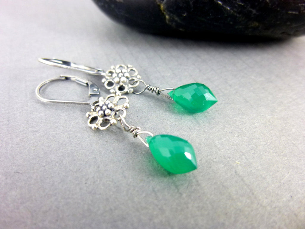 Tiny Green Onyx Heart Chakra Earrings, Sterling Silver