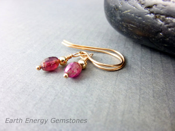 Watermelon Tourmaline Earrings, 14K Rose Gold Fill - Earth Energy Gemstones