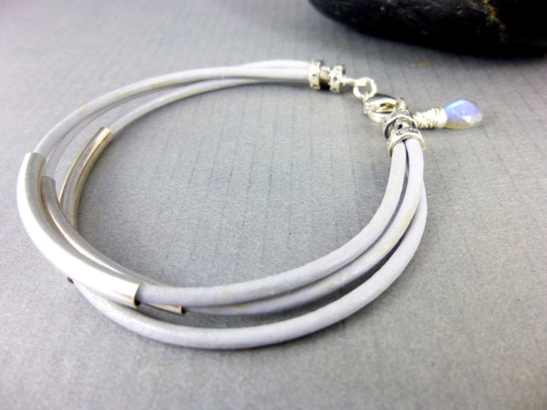 Eco-Friendly Leather Bangle Bracelet, Labradorite & Sterling Silver Chakra Bracelet