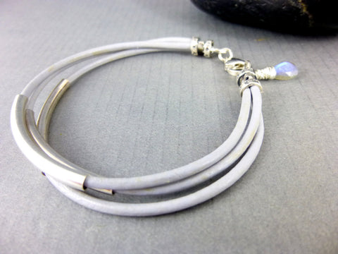 Leather Bangle Bracelet, Eco-Friendly, Labradorite - Earth Energy Gemstones