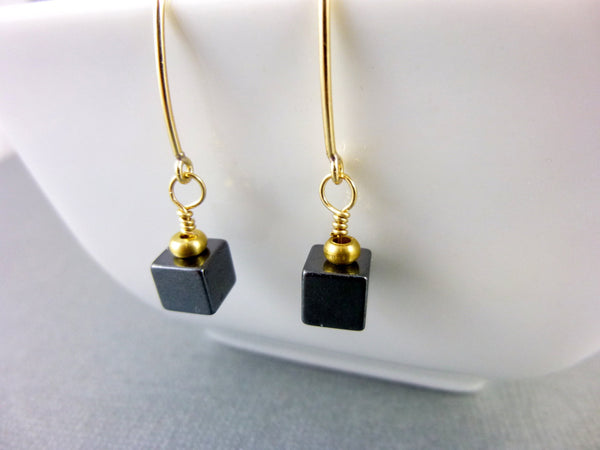 Hematite Root Chakra Earrings, Protection, Geometric Cubes, 14kt GF - Earth Energy Gemstones