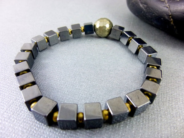 Hematite Stretch Bracelet, Geometric Cubes - Earth Energy Gemstones