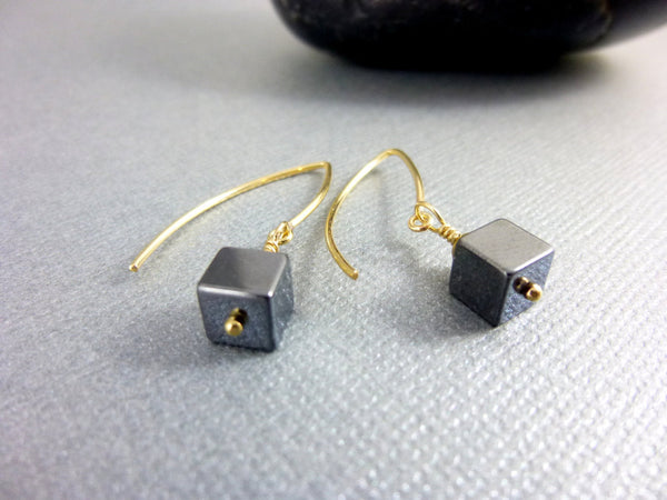 Hematite Chakra Earrings, Black and Gold Geometric Cube Earrings, 14kt Gold Filled