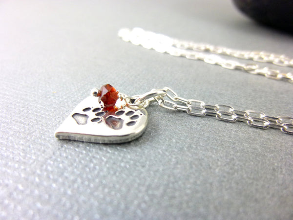 Paw Print Pendant Necklace, Sterling Silver, Choose Birthstone
