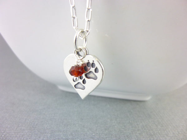 Paw Print Pendant Necklace, Sterling Silver - Earth Energy Gemstones