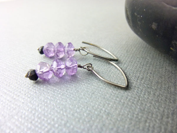 Amethyst & Black Pyrite Chakra Earrings, February Birthstone, Sterling Silver
