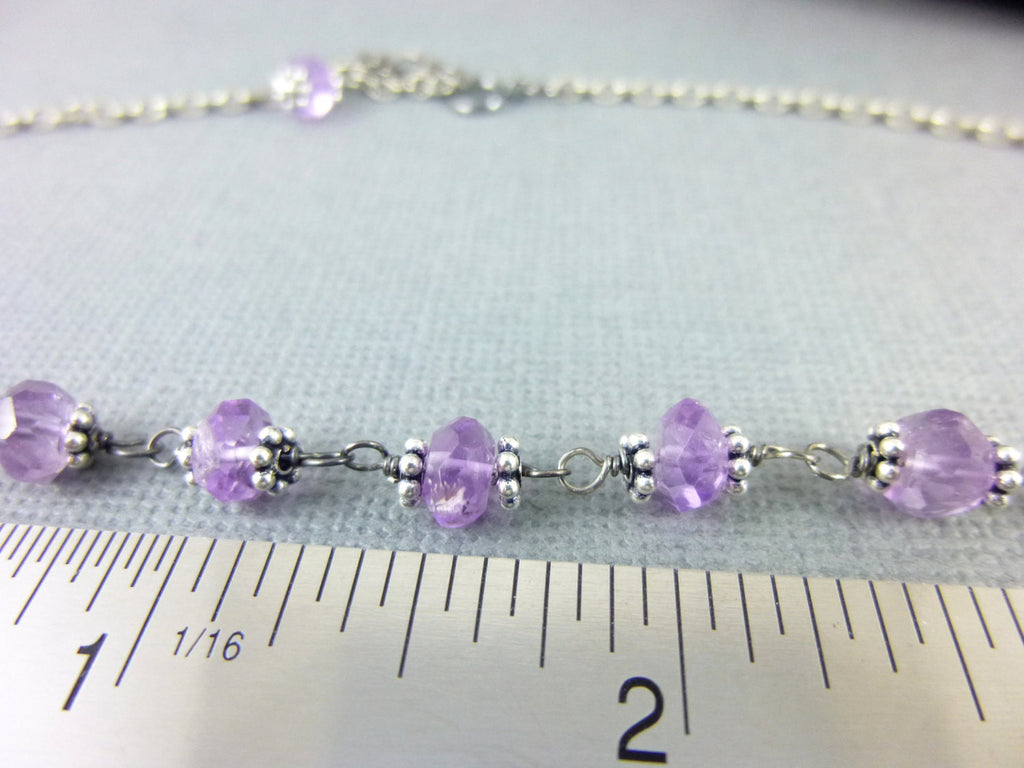 Dainty Amethyst Crown Chakra Necklace, February Birthstone, Sterling ...