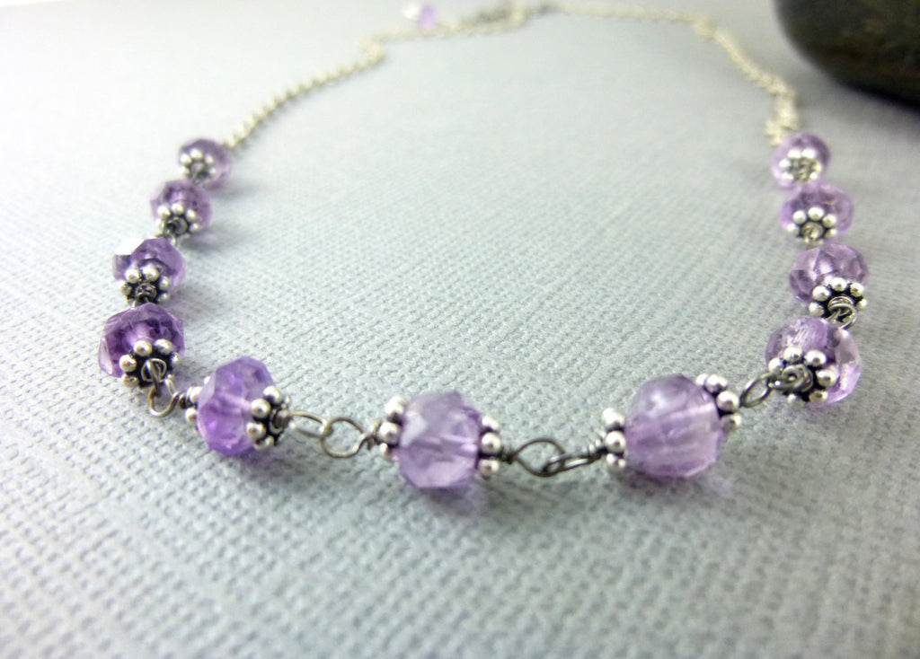 Dainty Amethyst Crown Chakra Necklace, February Birthstone, Sterling Silver