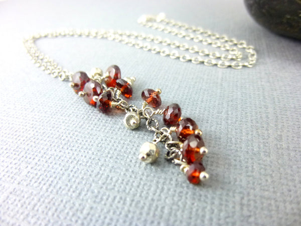 Garnet Chakra Necklace, January Birthstone, Sterling Silver - Earth Energy Gemstones