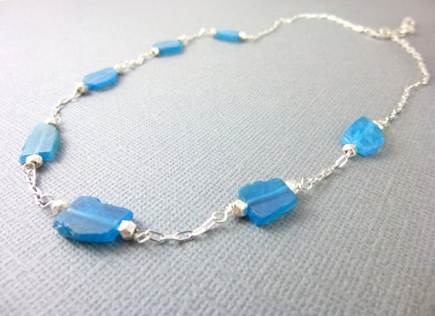 Blue Apatite Chakra Necklace, Organic Nugget Slices, Sterling Silver - Earth Energy Gemstones