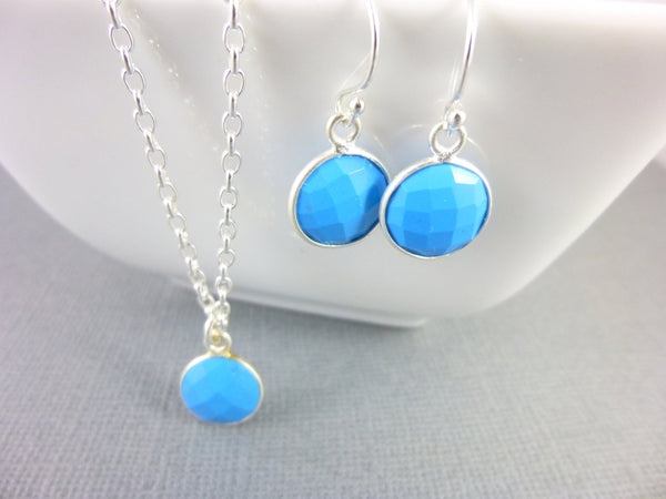 Tiny Turquoise Chakra Earrings, Sterling Silver Dangles, Throat Chakra