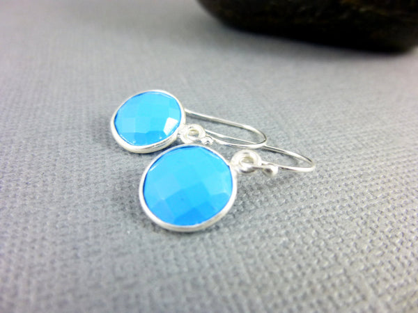 Turquoise Chakra Earrings, Sterling Dangles, Throat Chakra - Earth Energy Gemstones