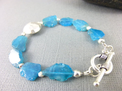 Apatite Heart Chakra Bracelet, Neon Blue Raw Apatite Nugget Slices, Sterling Silver