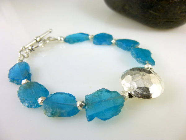 Apatite Heart Chakra Bracelet, Neon Blue Slices, Sterling Silver - Earth Energy Gemstones