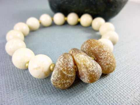 Boho White Onyx Stretch Bracelet - Earth Energy Gemstones