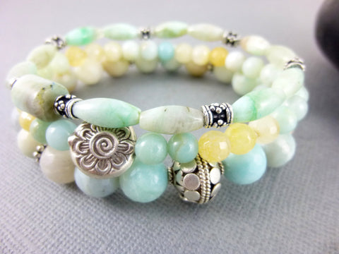 Amazonite Heart & Throat Chakra Bracelet Set