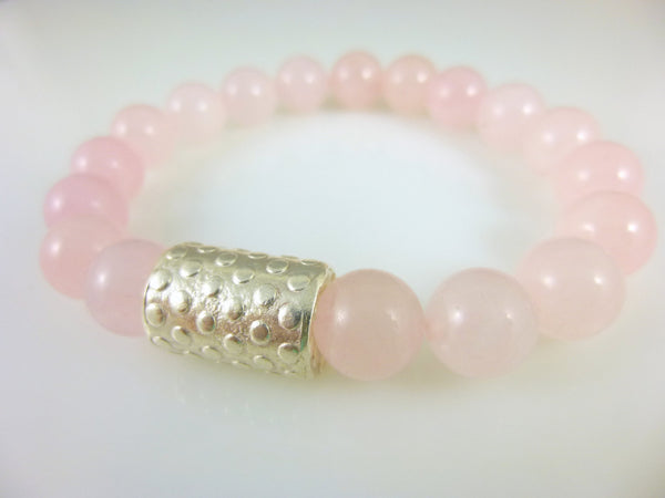 Rose Quartz Chakra Bracelet, Heart Chakra, Fine Silver - Earth Energy Gemstones