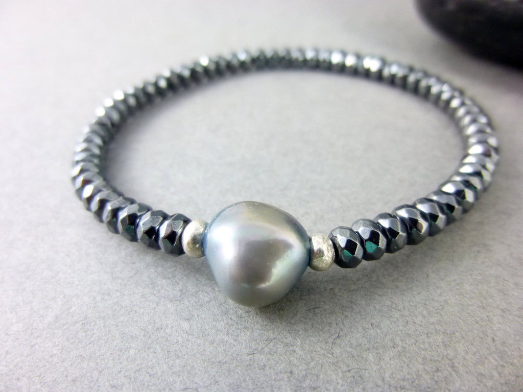Gray Baroque Pearl Chakra Bracelet with Hematite - Earth Energy Gemstones