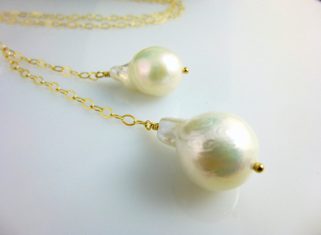 Flameball Pearl Lariat Necklace, 14kt Gold Filled